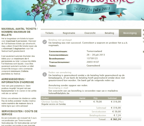tomorrowland paylogic betaling