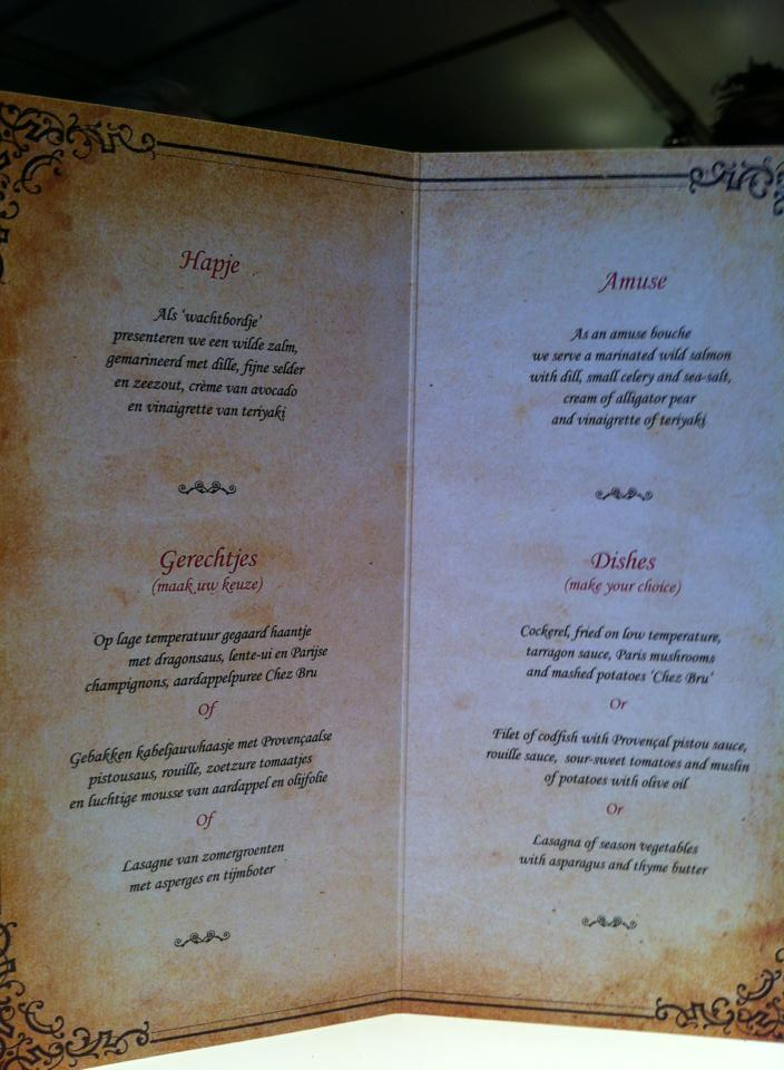 menu maison bru tomorrowland