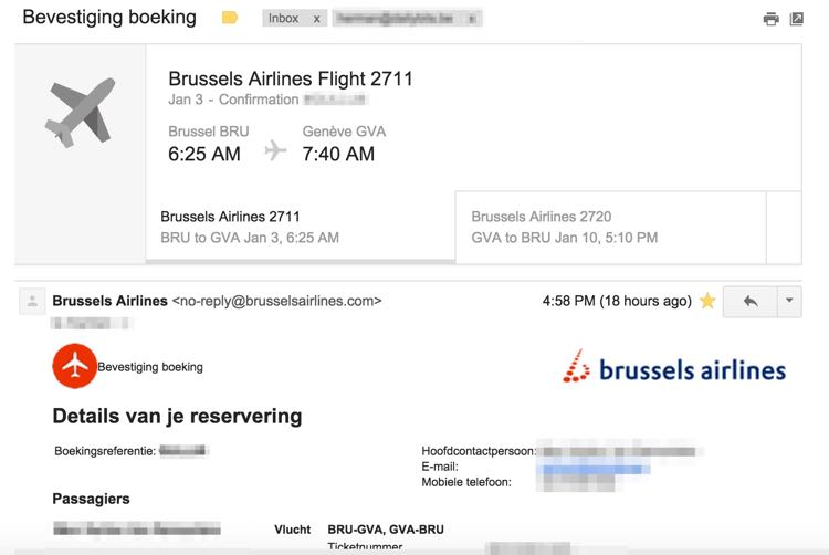 brussels airlines gmail to calendar