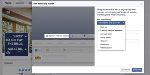 actieknop facebook page