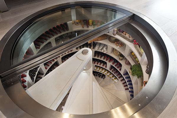 White-Spiral-Cellar-with-retractable-round-glass-door-larder