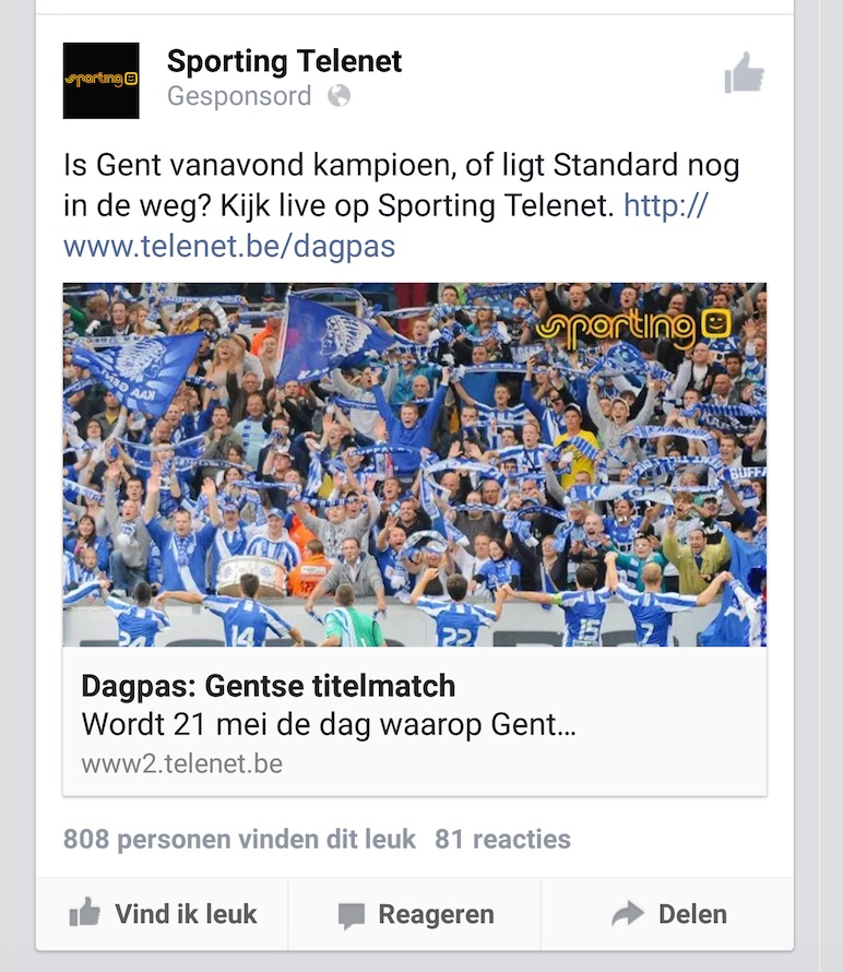 facebook promoted post telenet