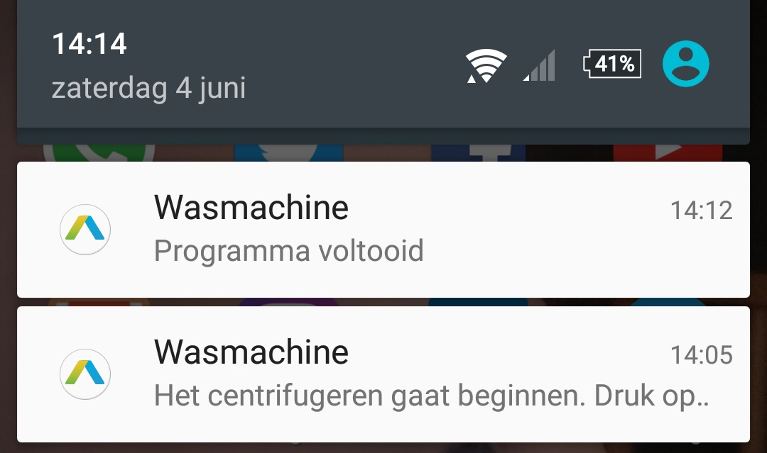 addwash app samsung notificaties