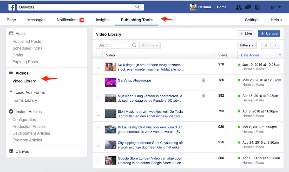 fb video publishing tools